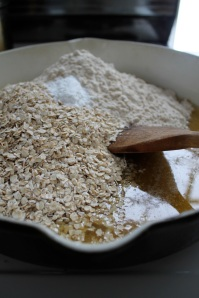 3.adding oats + flour