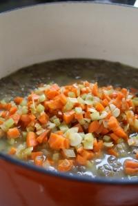 lentils, stock, veg.