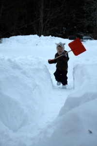 shoveling despite having a cold