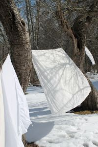 sheets drying in the wind