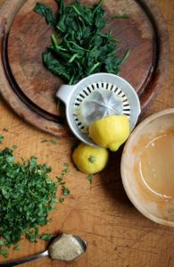 lemon juice, spinach, parsley