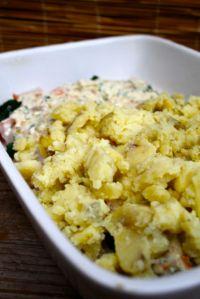 potatoes over fish mix