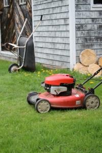 mower + wheelbarrow