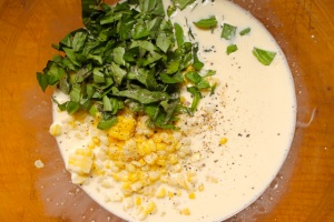 corn + basil added to eggs