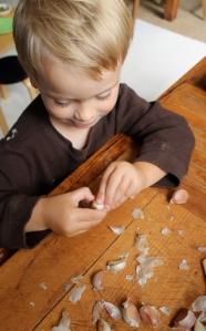 3.Finn peeling garlic