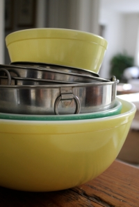 pyrex bowls + metal mixers