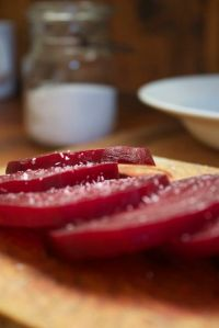 sliced with salt