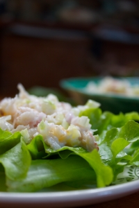 crab salad on bed of greens